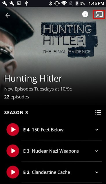 How to Chromecast History Channel app to TV?