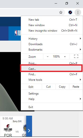 NBA on Chromecast