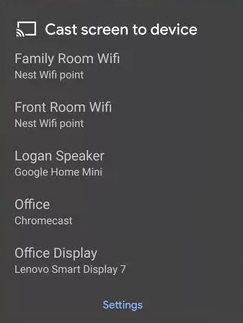 select device - Chromecast FandangoNOW