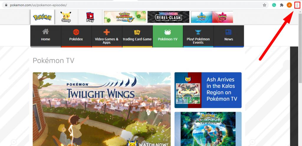 Chrome menu - How To Chromecast Pokemon TV