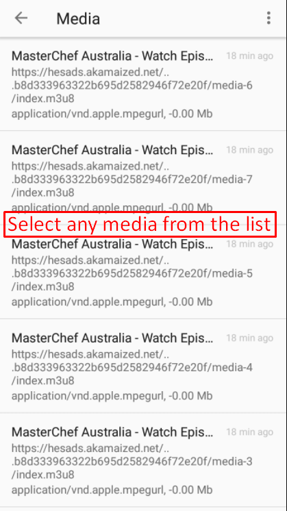 Select any media from the list