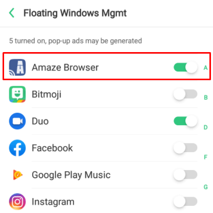 Draw over apps - Chromecast Amaze Browser