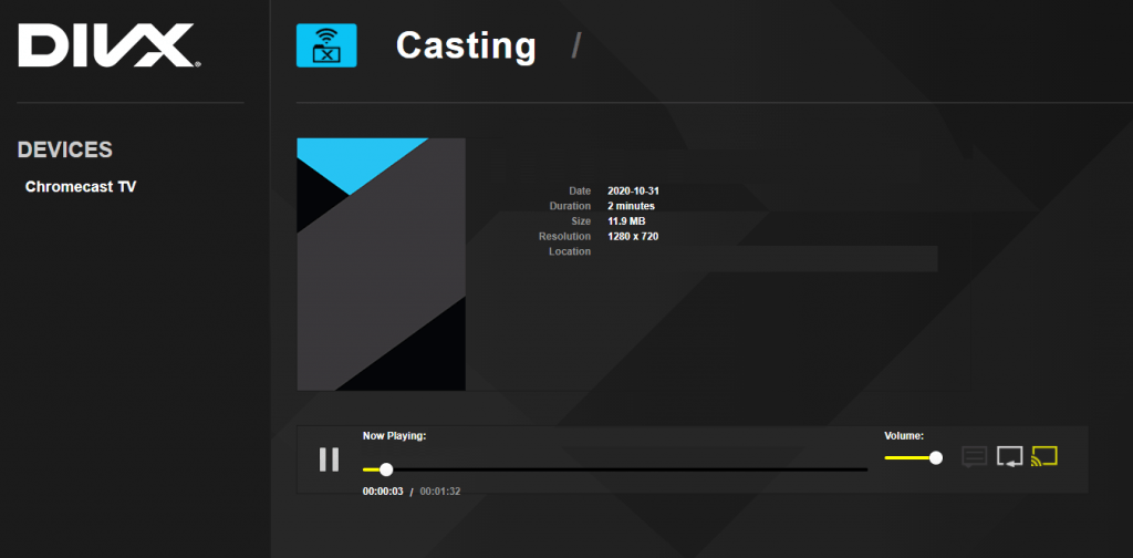 video player turn yellow - casting started