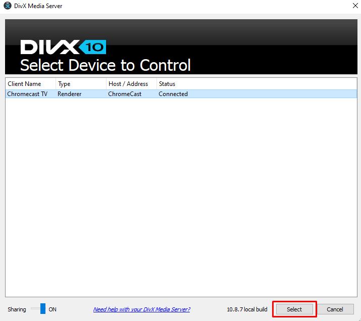 Chromecast DivX Player - select device