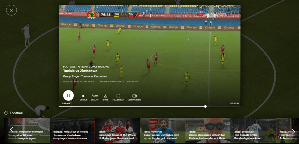 Chromecast Eurosport Player