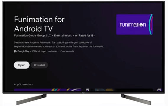 Launch Funimation app on Google TV