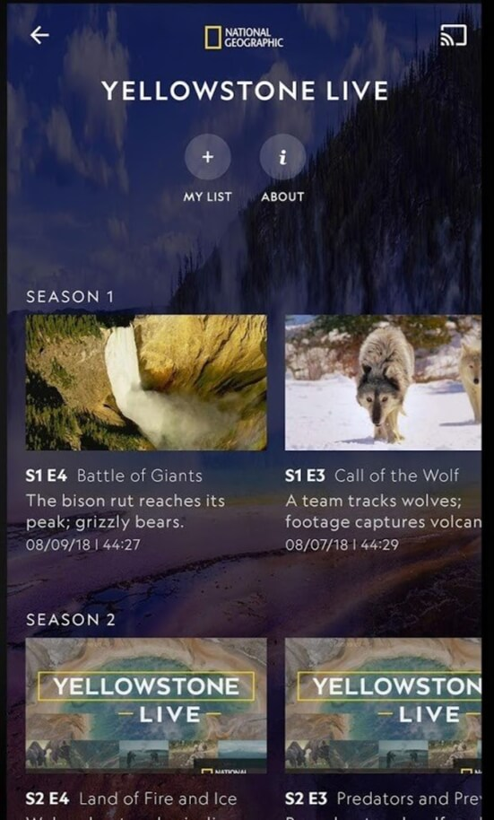 Cast icon -Chromecast National Geographic
