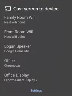 Choose Chromecast device