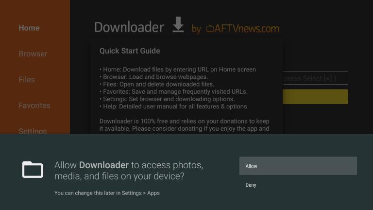 click Allow to grant permission