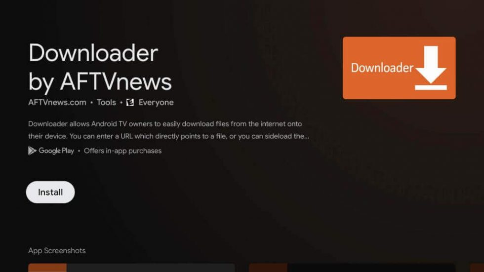 Stremio on Google TV-Click install