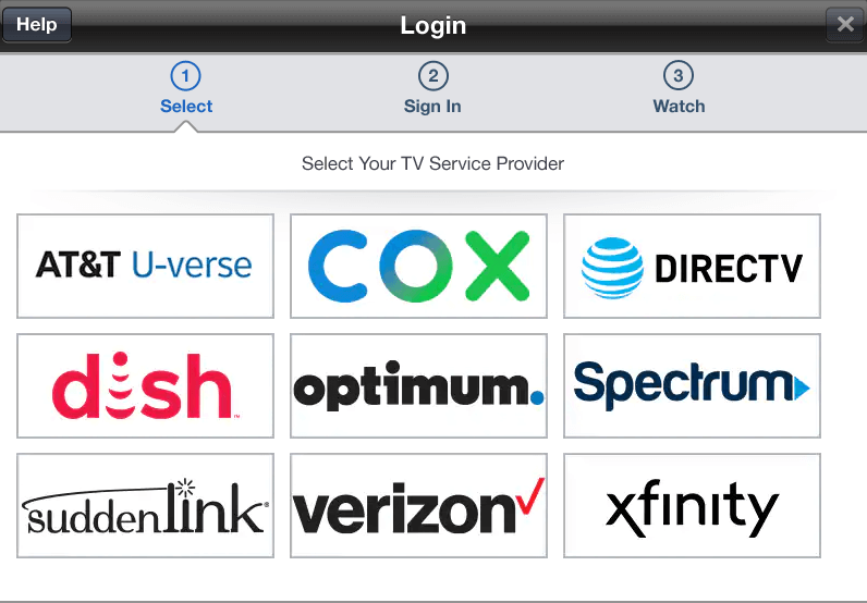 Supported TV providers