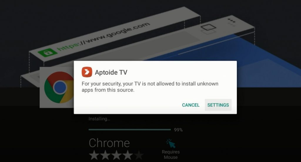 Enable Unknown Sources for Aptoide TV