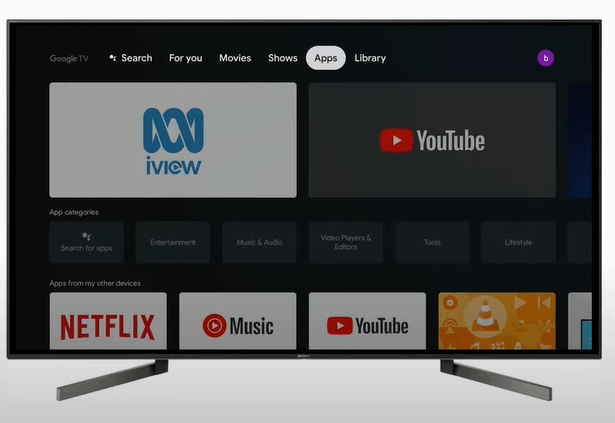 Google TV apps section