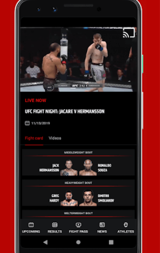Cast UFC Fights from Smartphone