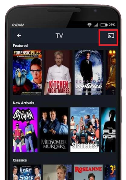 Cast Filmrise to Chromecast